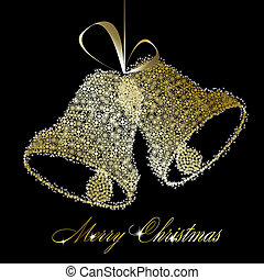 Golden Christmas bells made of gold snowflakes and stars on black background. Vector eps10 illustration