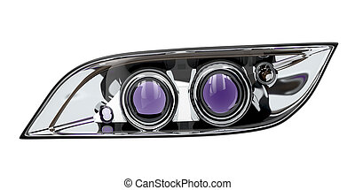 Car headlight isolated on white background