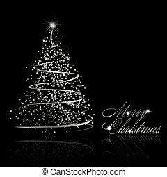 Abstract silver christmas tree on black background. Vector...