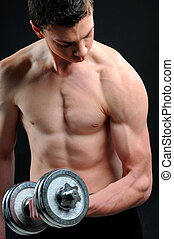 Young Bodybuilder - power athletic guy , execute exercise...