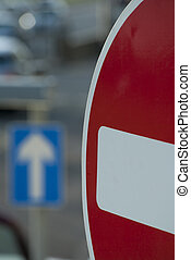 No Entry In Focus - Traffic scene in a UK city, showing...
