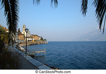 Village on the lake front with mountain and palm leaves