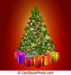 Christmas tree with gift boxes on red background
