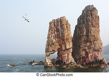 Island with flying seagull, shot in Shandong province ,...