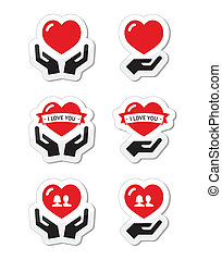 Hands with red heart icons