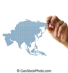 hand drawing asia