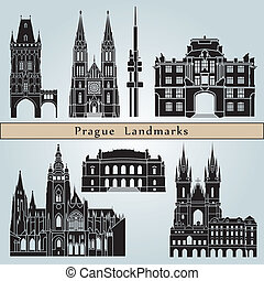 Prague landmarks and monuments isolated on blue background...