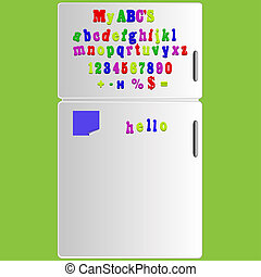 jpeg Fridge with magnet alphabet spelling ABC letters and...