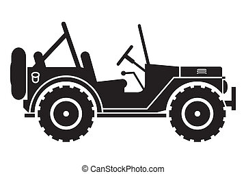Jeep silhouette - Gin SUV silhouette with an open top