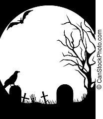 Halloween Illustration - Halloween illustration with moon in...