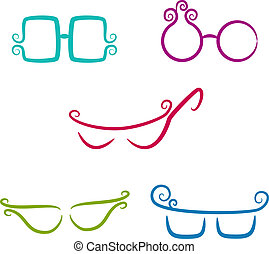 Set of vector glasses - Trees Collection of design elements...