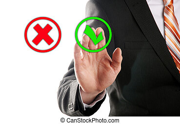 select the button right - businessman touches of the button...