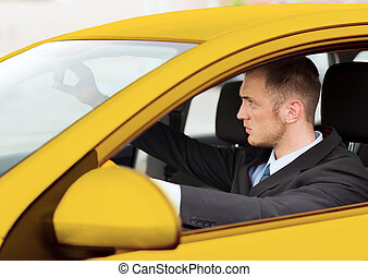 businessman or taxi driver driving a car - transportation...