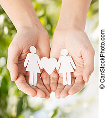 womans hands with paper women - eco, bio, nature, love,...