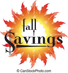 Fall Savings text in an autumn leaf - Autumn leaves in a sun...