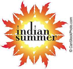 Indian Summer Vector Illustration - Autumn leaves in a solar...
