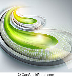 Abstract gray background with green