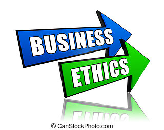 business ethics in arrows - business ethics - text in 3d...