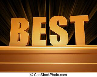 best over golden pedestal - text best - 3d golden letters...