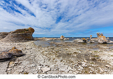Rocky coast with limestone cliffs in Sweden - Rocky...