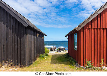Fishing village on Faring;rouml; island, Sweden - Old...