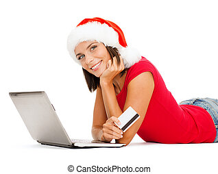 woman in santa hat with laptop and credit card - christmas,...