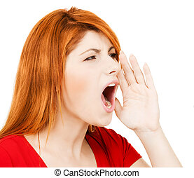 screaming woman - business concept - bright picture of...