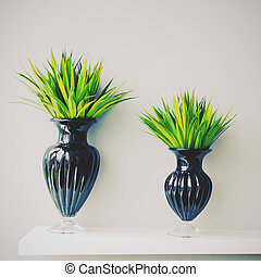 Plant in black vase decorated for room, retro filter effect