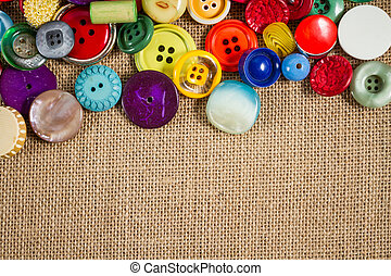 Vintage buttons frame - A great variety of colorful vintage...
