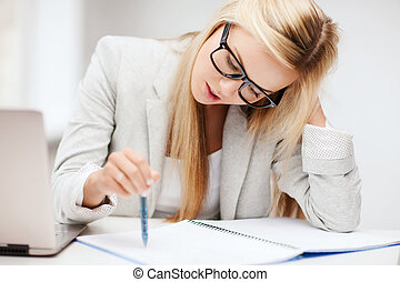 bored and tired woman - business and education concept -...