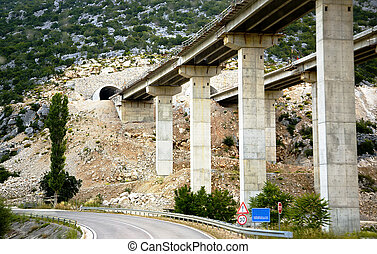 A bridge on piles in Croatia - A bridge on piles going away...