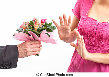 Angry wife refusing apology - Angry wife refusing a flowers...