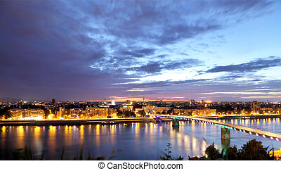 Novi Sad skyline - Novi Sad on Danube skyline in early...