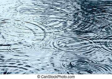 水, 雨, さざ波