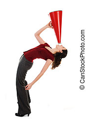 Woman and Megaphone - business woman with a red megaphone on...