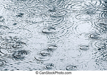 Rain drops in puddle - Raindrops and ripples in a puddle
