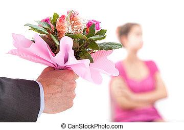 sien, excuses, épouse, offre, essayer, homme