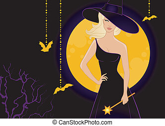 Beautiful witch in black dress - Vector illustration of...