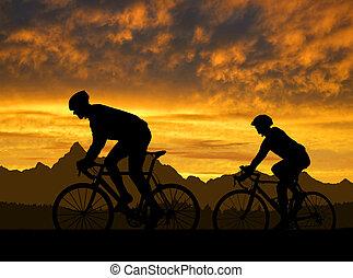 sylwetka, rowerzyści