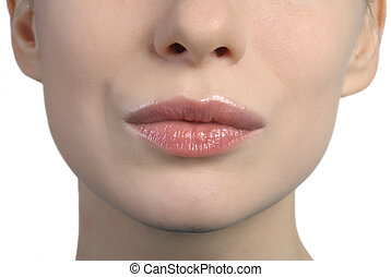womans lips kissing - close up shot of a womans lips kissing...