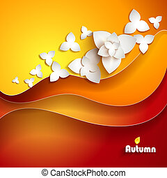 Abstract paper flowers Autumn background