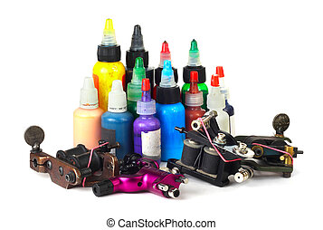 Tattoo machine with ink - Tattoo machine with many color ink...