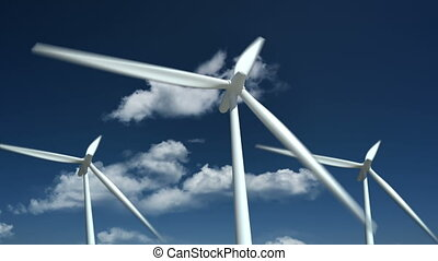 Wind turbines farm - alternative energy source.