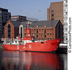 Lightship - Liverpool - England - An old lightship in Albert...