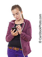 teenage girl with mobile phone, , isolated on white