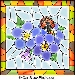 Mosaic of blue forget-me-not. - Vector illustration of...
