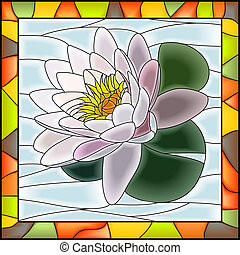 Mosaic white water lily. - Vector illustration of flower...