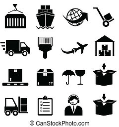 Cargo and shipping icons - Cargo and shipping icon set