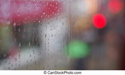rain on window glass panel in transportation, for...