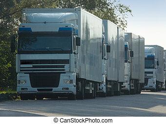 Big trucks for delivering cargo